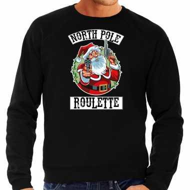 Zwarte kersttrui / kerstkleding northpole roulette heren grote maten