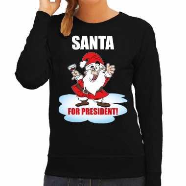 Zwarte kersttrui / kerstkleding santa for president dames