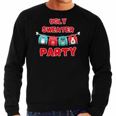 Zwarte kersttrui / kerstkleding ugly sweater party heren