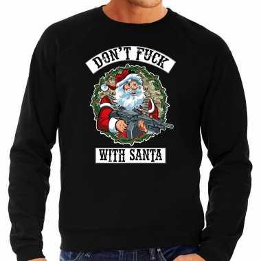Zwarte lelijke kersttrui / kerstkleding dont fuck with santa heren grote maten