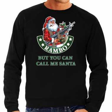 Zwarte lelijke kersttrui / kerstkleding rambo but you can call me santa heren grote maten