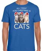 Blauw kerstrui kerstkleding all i want for christmas is cats heren