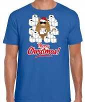 Blauw kerstrui kerstkleding hamsterende kat merry christmas heren