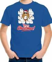 Blauw kerstrui kerstkleding hamsterende kat merry christmas kinderen