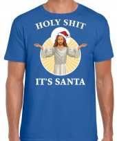 Blauw kerstrui kerstkleding holy shit its santa heren