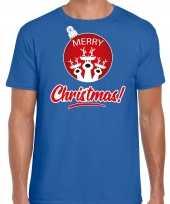 Blauw kerstrui kerstkleding merry christmas heren rendier kerstbal