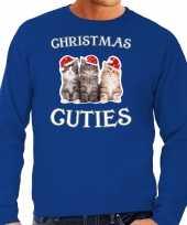 Blauwe kersttrui kerstkleding christmas cuties heren
