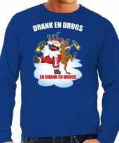 Blauwe kersttrui kerstkleding drank drugs heren