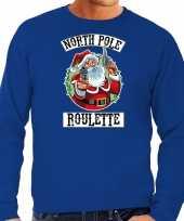 Blauwe kersttrui kerstkleding northpole roulette heren grote maten