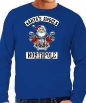 Blauwe kersttrui kerstkleding santas angels northpole heren grote maten