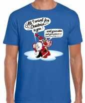 Fout kerstborrel trui fout kerst trui zingende kerstman gitaar blauw heren