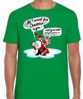 Fout kerstborrel trui fout kerst trui zingende kerstman gitaar groen heren