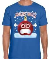 Fout kerstborrel trui kersttrui angry balls blauw heren