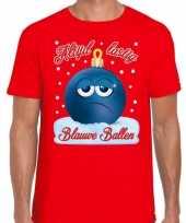 Fout kerstborrel trui kersttrui blauwe ballen rood heren