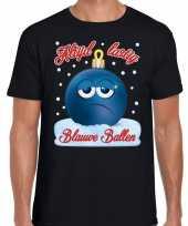 Fout kerstborrel trui kersttrui blauwe ballen zwart heren