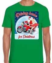 Fout kerstborrel trui kersttrui driving home for christmas groen motorrijders heren