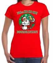 Fout kerstborrel trui kersttrui ho ho ho doordrinken bier rood dames