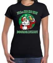 Fout kerstborrel trui kersttrui ho ho ho doordrinken bier zwart dames
