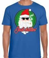 Fout kerstborrel trui kersttrui just chillin blauw heren