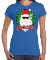 Fout kerstborrel trui kersttrui just chillin stoere kerstman blauw dames