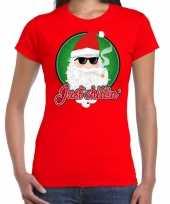 Fout kerstborrel trui kersttrui just chillin stoere kerstman rood dames