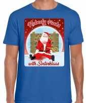 Fout kerstborrel trui kersttrui nobody fucks with sinterklaas blauw heren