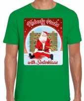 Fout kerstborrel trui kersttrui nobody fucks with sinterklaas groen heren