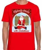 Fout kerstborrel trui kersttrui nobody fucks with sinterklaas rood heren