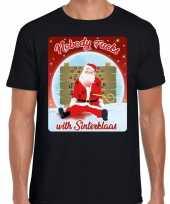 Fout kerstborrel trui kersttrui nobody fucks with sinterklaas zwart heren