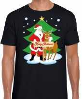 Fout kerstmis trui zwart kerstman rudolf heren