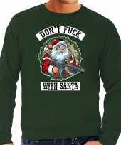 Groene lelijke kersttrui kerstkleding dont fuck with santa heren grote maten