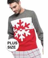 Grote maat grijs rode lelijke lelijke gebreide kersttrui sneeuwvlok print heren volwassenen