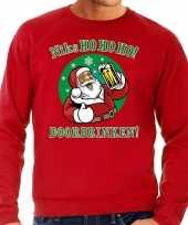 Grote maat lelijke kerstborrel trui kersttrui ho ho ho doordrinken biertje rood heren
