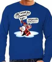 Grote maat lelijke kerstborrel trui kersttrui zingende kerstman gitaar all i want for christmas is you blauw heren