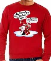 Grote maat lelijke kerstborrel trui kersttrui zingende kerstman gitaar all i want for christmas is you rood heren
