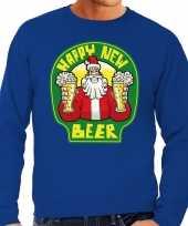 Grote maat lelijke oud nieuw trui kersttrui happy new beer bier blauw heren