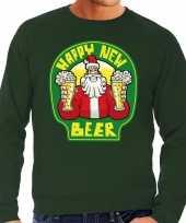 Grote maat lelijke oud nieuw trui kersttrui happy new beer bier groen heren