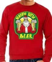 Grote maat lelijke oud nieuw trui kersttrui happy new beer bier rood heren
