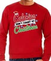 Grote maten lelijke kerstborrel trui kersttrui calories don t count at christmas rood heren