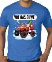 Grote maten lelijke kerstborrel trui kersttrui monstertruck santa blauw heren