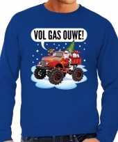 Grote maten lelijke kerstborrel trui kersttrui vol ga ouwe santa monstertruck truck blauw heren