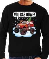 Grote maten lelijke kerstborrel trui kersttrui vol ga ouwe santa monstertruck truck zwart heren