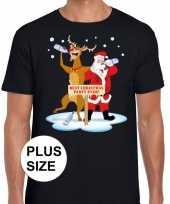 Grote maten lelijke kerstmis trui zwart een dronken kerstman rudolf heren