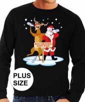 Grote maten lelijke kersttrui zwart een dronken kerstman rudolf heren