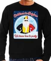 Lelijke belgie kerstborrel trui kersttrui christmas belgium zwart heren