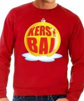 Lelijke feest kerst sweater gele kerstbal rode sweater heren