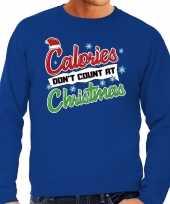 Lelijke kerstborrel trui kersttrui calories don t count at christmas blauw heren