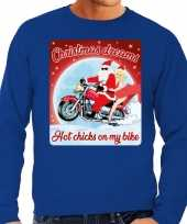 Lelijke kerstborrel trui kersttrui christmas dreams blauw motorrijders heren