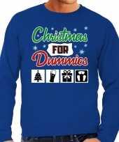 Lelijke kerstborrel trui kersttrui christmas for dummies blauw heren