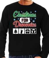 Lelijke kerstborrel trui kersttrui christmas for dummies zwart heren